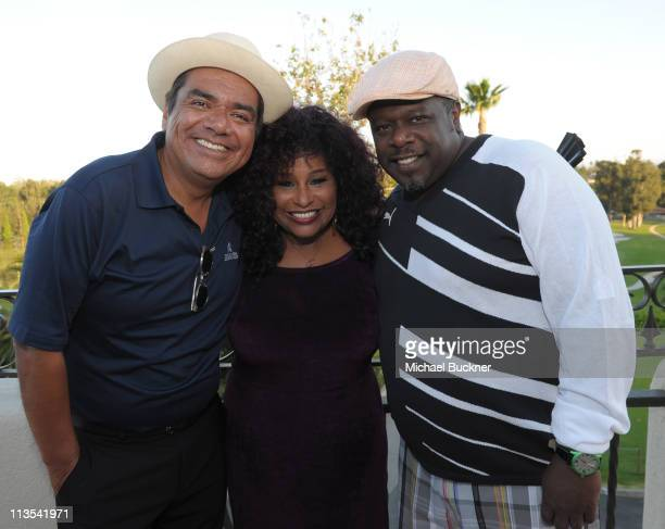 Comedian George Lopez singer Chaka Khan and comedian Cedric The Entertainer attend the Fourth Annual George Lopez Celebrity Golf Classic benefitting...