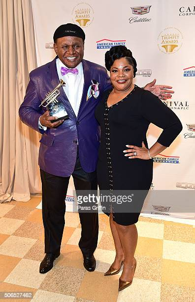 Comedian George Wallace and actress Mo'Nique attend 2016 Trumpet Awards at Cobb Energy Performing Arts Center on January 23 2016 in Atlanta Georgia