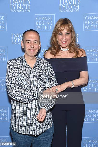 Comedian Gilbert Gottfried and Board Member David Lynch Foundation Joanna Plafsky attends 'An Amazing Night of Comedy A David Lynch Foundation...
