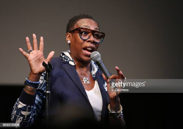 Comedian Gina Yashere speaks at the opening night of the 25th African Film Festival at Walter Reade Theater on May 16 2018 in New York City
