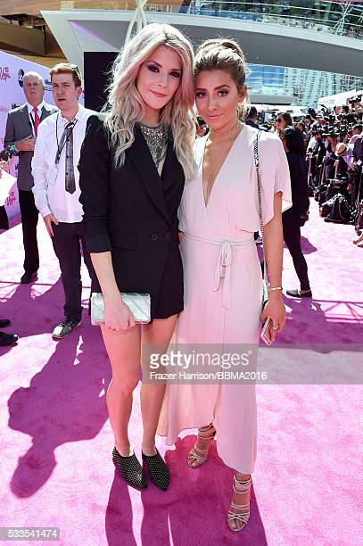 Comedian Grace Helbig and TV personality Lauren Elizabeth attend the 2016 Billboard Music Awards at TMobile Arena on May 22 2016 in Las Vegas Nevada