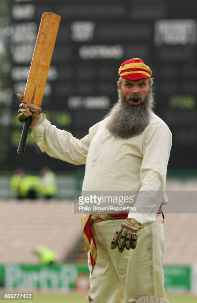 Comedian Greg Davies dressed up as Dr WG Grace before play in the 3rd Ashes Test match between Australia and England at Old Trafford cricket ground...