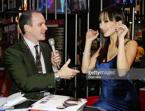 Comedian Greg Fitzsimmons interviews adult film actress Katsumi for Spike TV at the Adult Video News Adult Entertainment Expo at the Sands Expo...