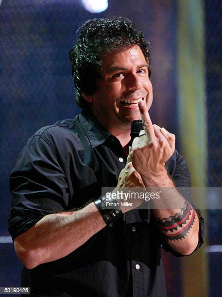 Comedian Greg Giraldo performs at the House of Blues inside the Mandalay Bay Resort Casino on July 2 2005 in Las Vegas Nevada Comedy Central is...