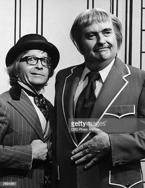 Comedian guest Arte Johnson poses with American children's television host Robert Keeshan on the set of the TV series 'Captain Kangaroo' 1975