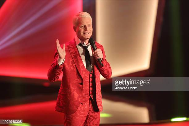 Comedian Guido Cantz speeks on stage during the awarding of the medal Wider den tierischen Ernst during the carnival season on February 08 2020 in...