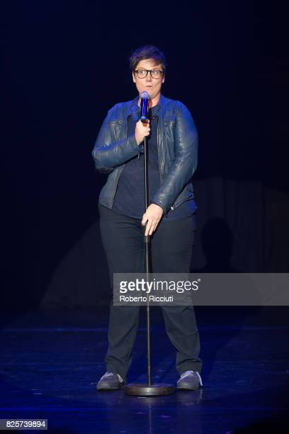 Comedian Hannah Gadsby performs on stage 'Nanette' during Assembly Gala Launch for Edinburgh Festival Fringe at Assembly Hall on August 2 2017 in...