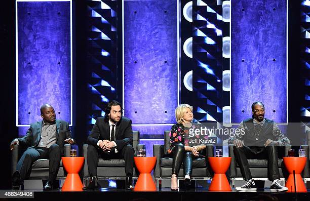 Comedian Hannibal Buress, comedian Chris D'Elia, TV personality Martha Stewart, and recording artist Snoop Dogg attend The Comedy Central Roast of...