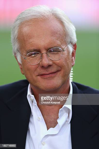 Comedian Harald Schmidt looks on prior to the Bundesliga match between Borussia Dortmund and Werder Bremen at Signal Iduna Park on August 24 2012 in...