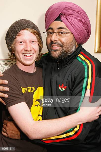Comedian Hardeep Singh Kohli poses for a photo with TCT special guest Anthony Whitehead during the sixth and final night of a series of concerts and...
