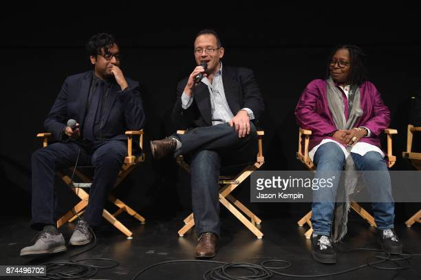 Comedian Hari Kondabolu director Michael Melamedoff and Whoopi Goldberg speak onstage during truTV Presents 'The Problem With Apu' DOC NYC screening...