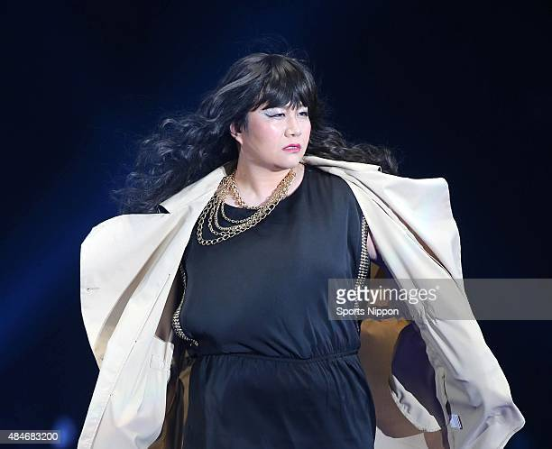 Comedian Haruna Kondo of Harisenbon walks the runway during the TOKYO GIRLS COLLECTION on March 1 2014 in Tokyo Japan