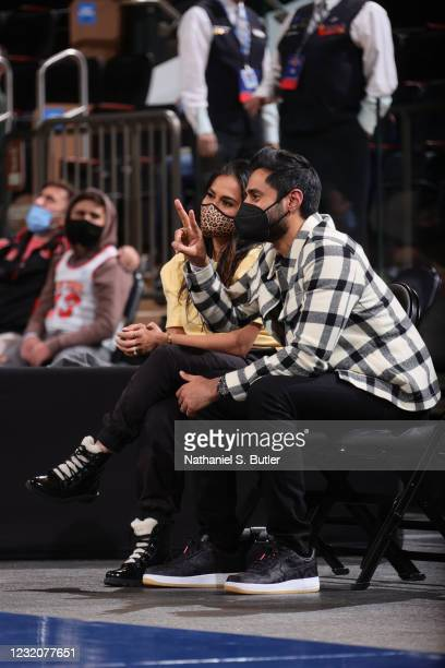 Comedian, Hasan Minhaj and Beena Patel attend the game between the Dallas Mavericks and the New York Knicks on April 2, 2021 at Madison Square Garden...