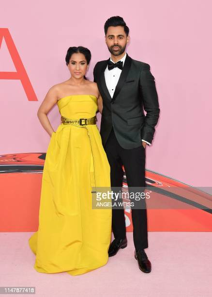 Comedian Hasan Minhaj and his wife Beena Patel arrive for the 2019 CFDA fashion awards at the Brooklyn Museum in New York City on June 3, 2019.