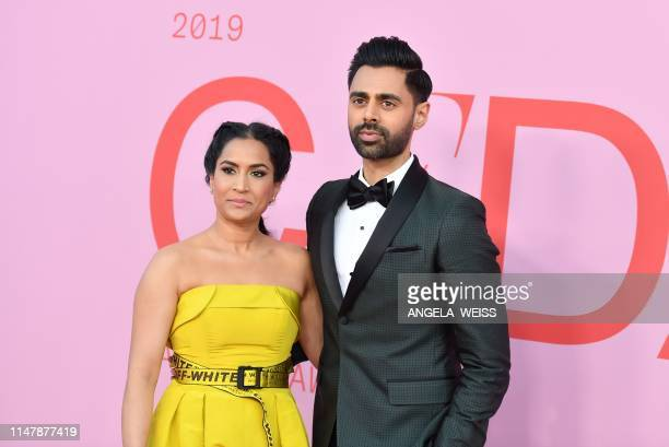 US comedian Hasan Minhaj and his wife Beena Patel arrive for the 2019 CFDA fashion awards at the Brooklyn Museum in New York City on June 3 2019