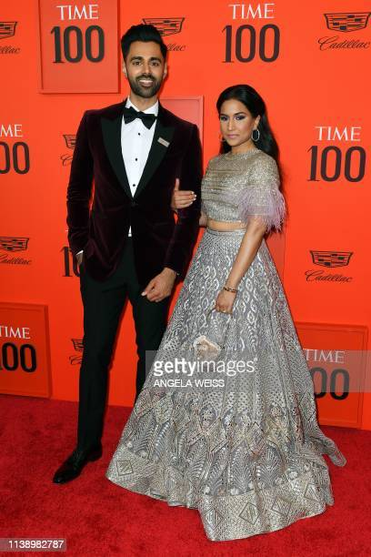 Comedian Hasan Minhaj and wife Beena Patel arrive on the red carpet for the Time 100 Gala at the Lincoln Center in New York on April 23, 2019.