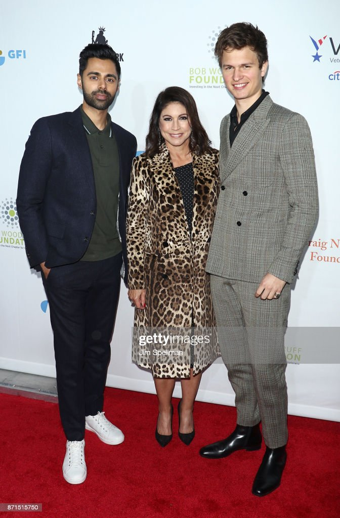 Comedian Hasan Minhaj, founder and owner of the New York comedy club Carolines Caroline Hirsch and actor Ansel Elgort attend the 11th Annual Stand Up for Heroes at The Theater at Madison Square Garden on November 7, 2017 in New York City.