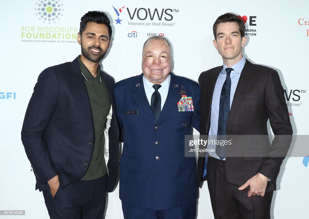 Comedian Hasan Minhaj, Master Sgt. Israel Del Toro and comedian John Mulaney attend the 11th Annual Stand Up for Heroes at The Theater at Madison Square Garden on November 7, 2017 in New York City.