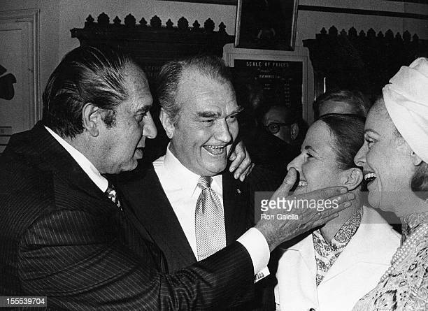 Comedian Henny Youngman and Red Skelton wife Lothian Toland and guest attend the performance of Follies on June 22 1971 at the Winter Garden Theater...