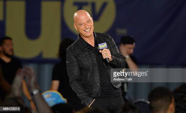 Comedian Howie Mandel speaks on stage during The Impractical Jokers Live Punishment Special hosted by Howie Mandel at 19 Fulton Street on September 3...