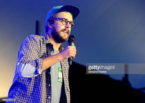 Comedian Iain Stirling performs on day 3 of The Leeds Festival at Bramham Park on August 30 2015 in Leeds England
