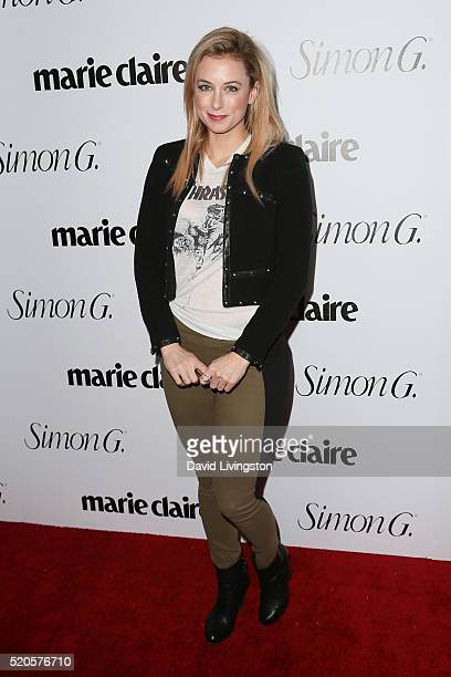 Comedian Iliza Shlesinger arrives at the Marie Claire Fresh Faces Party at the Sunset Tower Hotel on April 11 2016 in West Hollywood California