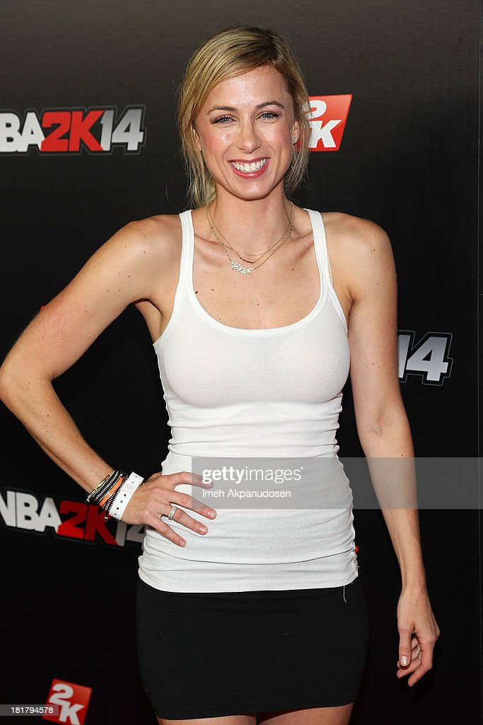 Comedian Iliza Shlesinger attends the premiere party for the NBA2K14 video game at Greystone Mansion on September 24, 2013 in Beverly Hills, California.