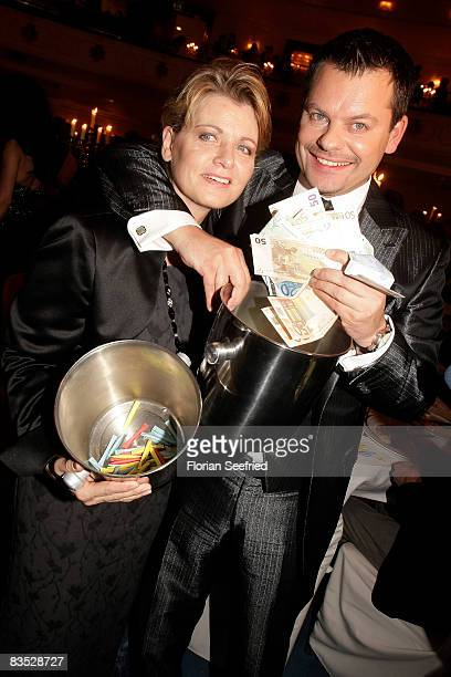 Comedian Ingo Appelt and actress Andrea Spatzek selling lots during the Unesco Benefit Gala For Children 2008 at Hotel Maritim on November 01 2008 in...