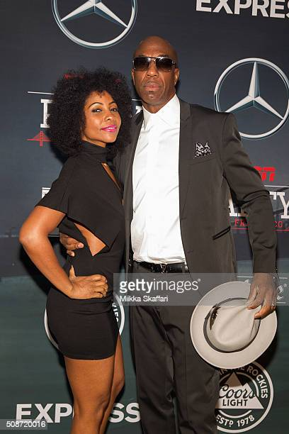 Comedian J B Smoove and his wife Shalidar Omar arrive at the annual ESPE The Party at Fort Mason Center on February 5 2016 in San Francisco California