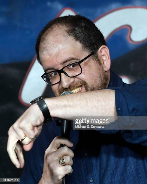 Comedian J Elvis Weinstein performs during his appearance at The Ice House Comedy Club on February 3 2018 in Pasadena California