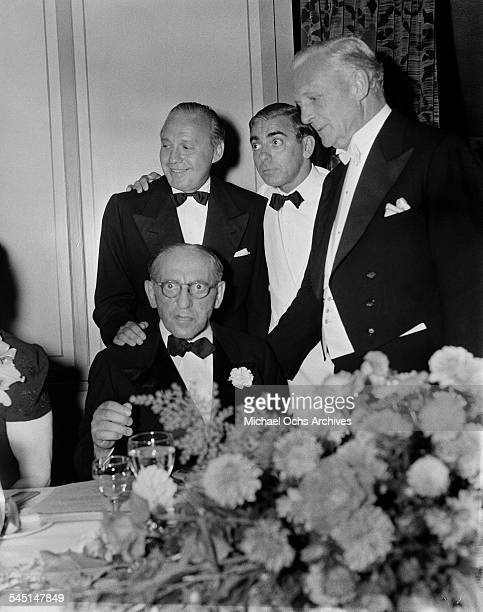 Comedian Jack Benny and Eddie Cantor pose during an event in Los Angeles California