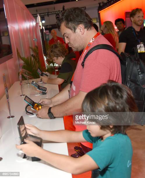 Comedian Jack Black visits the Nintendo booth at the 2017 E3 Gaming Convention at Los Angeles Convention Center on June 13, 2017 in Los Angeles,...