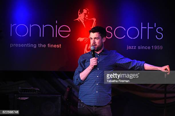 Comedian Jack Whitehall performs on stage at ESI Media Stand Up Live during Advertising Week Europe 2016 at Ronnie Scott's on April 19 2016 in London...