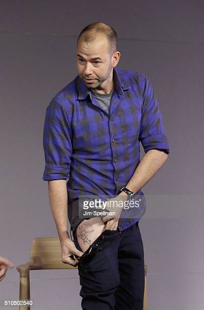 Comedian James Murray tattoo detail attends Apple Store Soho Presents Meet The Impractical Jokers at Apple Store Soho on February 15 2016 in New York...
