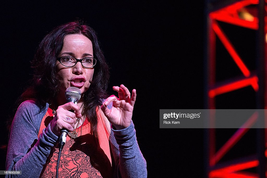 Comedian Janeane Garofalo performs on stage during the Moontower Comedy Festival at the Paramount Theatre on April 26, 2013 in Austin, Texas.