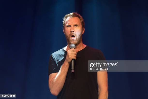 Comedian Jason Byrne performs on stage during Assembly Gala Launch for Edinburgh Festival Fringe at Assembly Hall on August 2 2017 in Edinburgh...