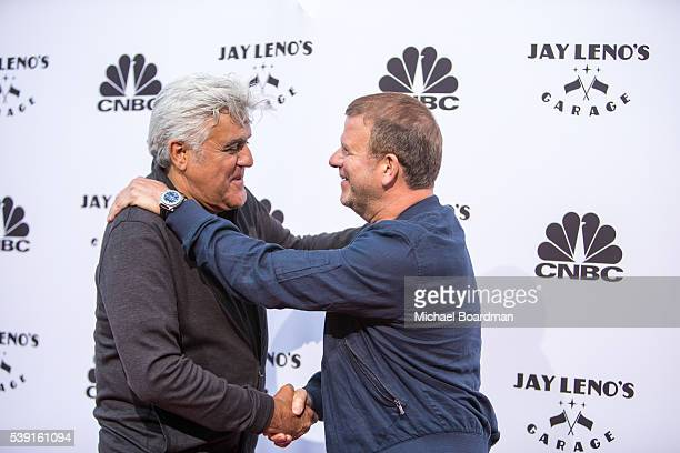 Comedian Jay Leno and host of 'Billion Dollar Buyer' Tilman Fertitta attends the premiere of CNBC's Jay Leno's Garage Season 2 at the Universal...