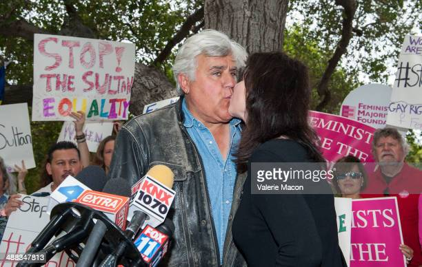Comedian Jay Leno and wife Mavis Leno attend the Coalition Of Women's Rights LGBT And Human Rights Groups Rally to protest Brunei's KillAGay and...