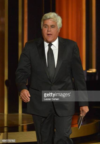 Comedian Jay Leno appears onstage at the 66th Annual Primetime Emmy Awards held at Nokia Theatre LA Live on August 25 2014 in Los Angeles California