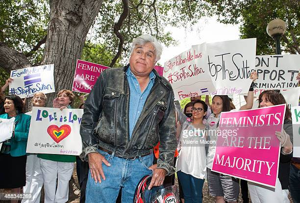 Comedian Jay Leno attends the Coalition Of Women's Rights LGBT And Human Rights Groups Rally to protest Brunei's 'KillAGay and FlogAWoman' Penal Code...