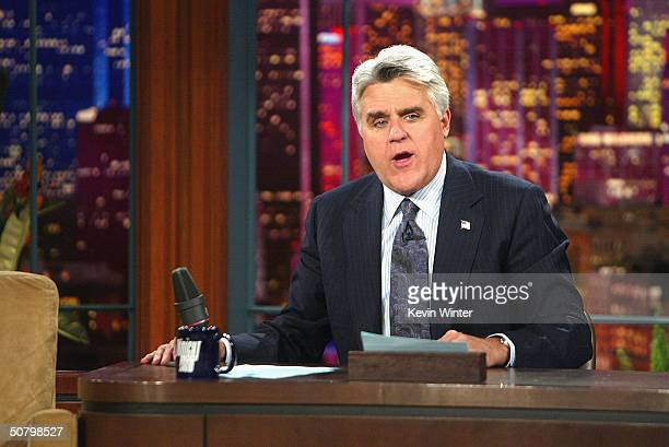 Comedian Jay Leno hosts 'The Tonight Show with Jay Leno' at the NBC Studios on May 3 2004 in Burbank California