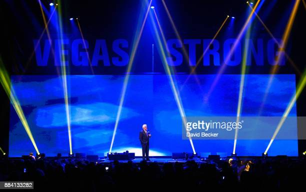 Comedian Jay Leno performs at the Vegas Strong Benefit Concert at TMobile Arena to support victims of the October 1 tragedy on the Las Vegas Strip on...