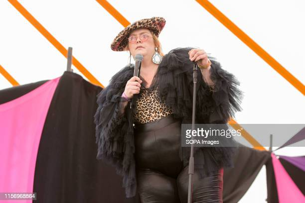 Comedian Jayde Adams performs at the Henham Park during a Latitude Festival in Southwold.