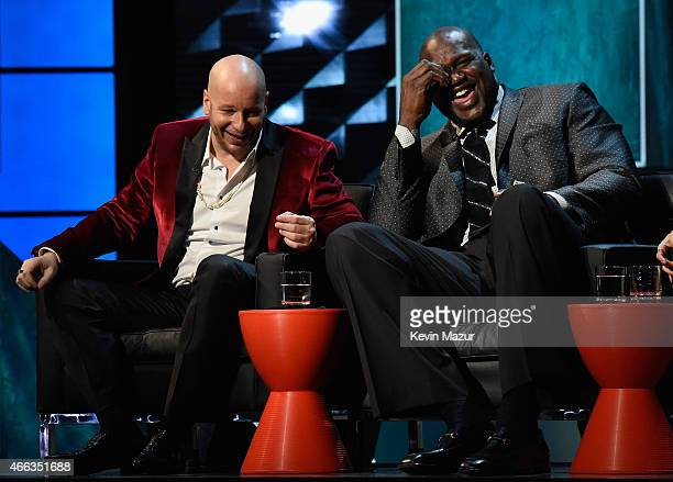 Comedian Jeff Ross and TV personality/retired NBA player Shaquille O'Neal speak onstage at The Comedy Central Roast of Justin Bieber at Sony Pictures...