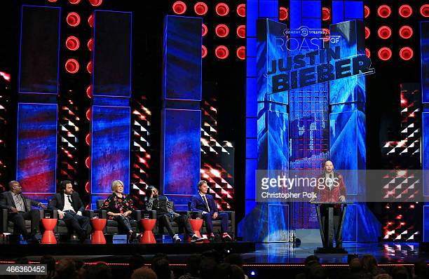 Comedian Jeff Ross speaks as comedians Hannibal Buress and Chris D'Elia TV personality Martha Stewart rapper Snoop Dogg and honoree Justin Bieber...