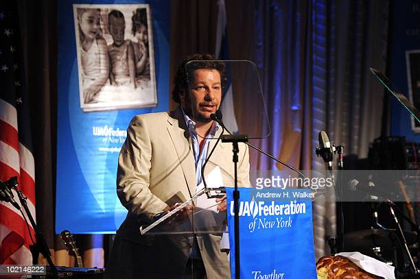 Comedian Jeff Ross speaks at the UJAFederation's 2010 Music Visionary of the Year award luncheon at The Pierre Ballroom on June 16 2010 in New York...