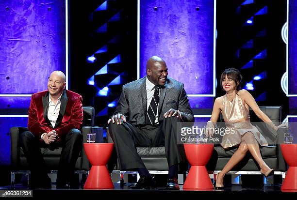 Comedian Jeff Ross TV personality/retired basketball player Shaquille O'Neal and comedian Natasha Leggero onstage at The Comedy Central Roast of...