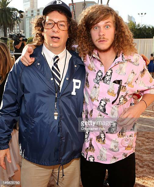 Comedian Jeffrey Ross and actor Blake Anderson arrive at the Comedy Central Roast of Roseanne Barr at Hollywood Palladium on August 4 2012 in...
