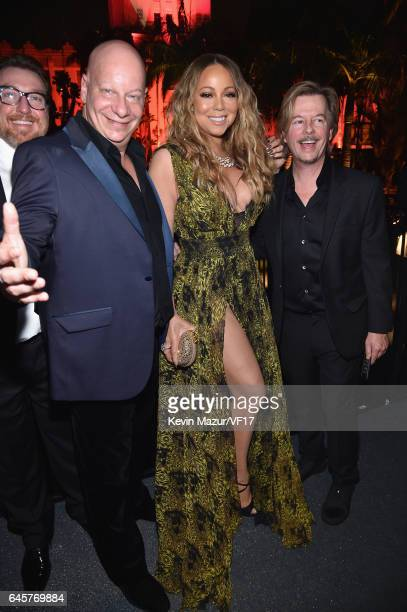 Comedian Jeffrey Ross musician Mariah Carey and comedian David Spade attend the 2017 Vanity Fair Oscar Party hosted by Graydon Carter at Wallis...