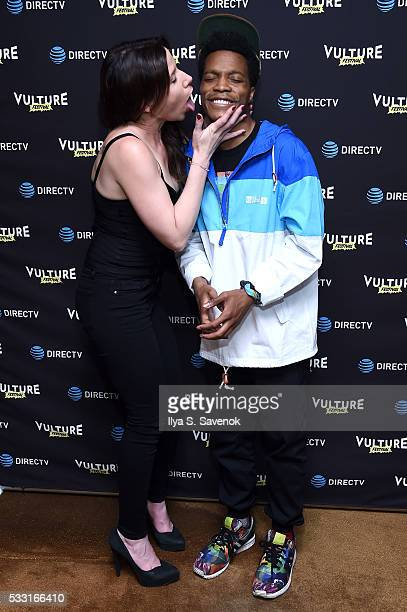 Comedian Jermaine Fowler and guest attend the Vulture Festival Opening Night Party sponsored by DirecTV at The Top of The Standard on May 20, 2016 in...